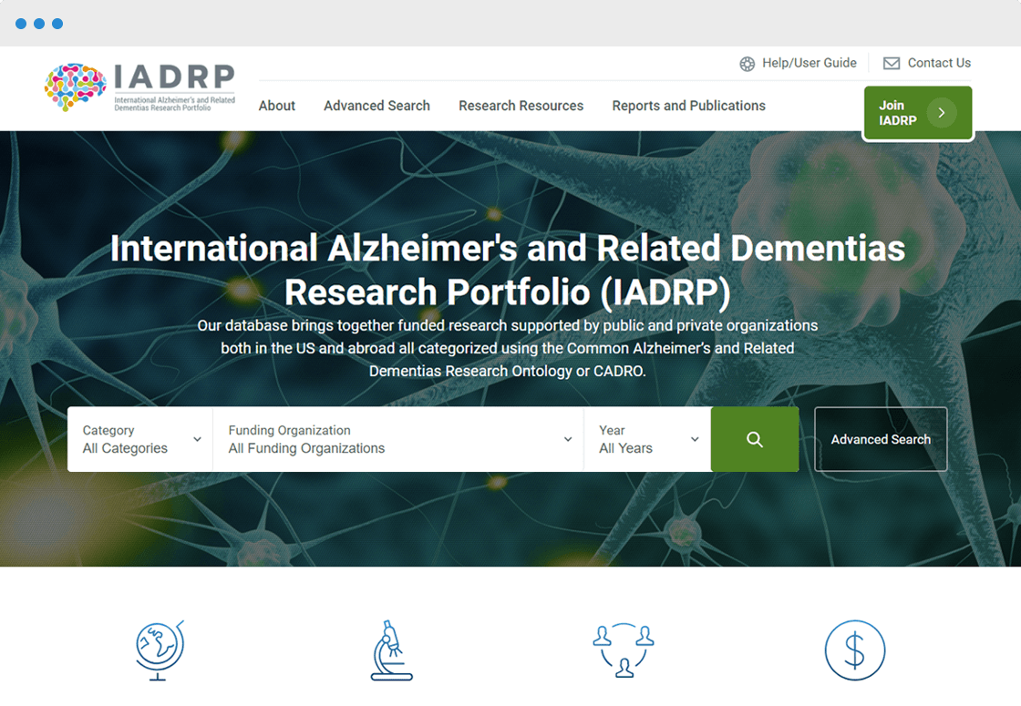 International Alzheimer's and Related Dementias Research Portfolio (IADRP)