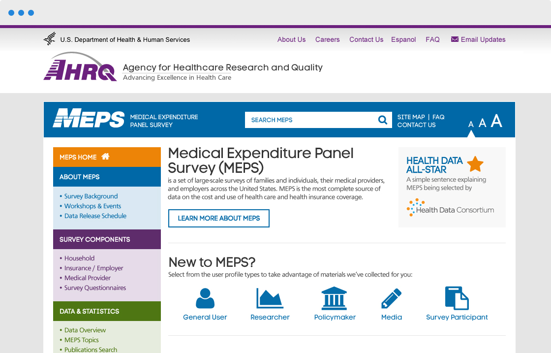 AHRQ - Medical Expenditure Panel Survey (MEPS) | WebFirst
