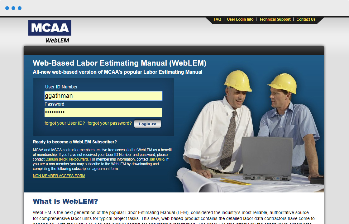 WebFirst is here for the assist with Mechanical Contractors Association of  America (MCAA) Web Labor Estimating Manual (WebLEM) project!